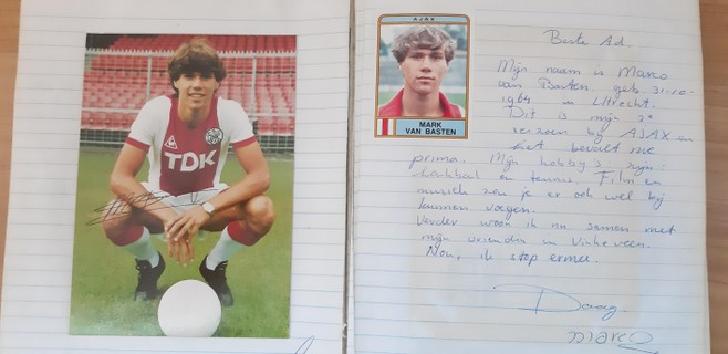Marco van Basten naar fan in brief uit jaren tachtig: 'Nou ik stop ermee, daag'